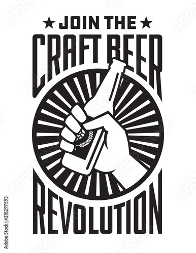 Craft Beer Revolution vector badge or label design Wallpaper Mural