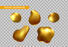 Gold Nuggets Isolated On A Transparent Background. Shape Liquid Drops With Color Golden Gradient. Abstract 3d Yellow Fluid.