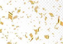 Falling Shiny Golden Confetti ...