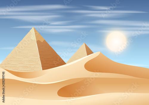 pyramid desert landscape scene Fotobehang