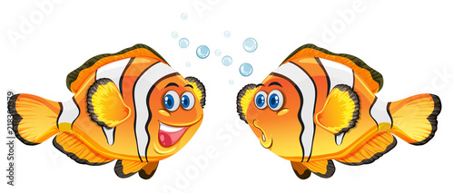 Fotomural Cute clownfish on white background