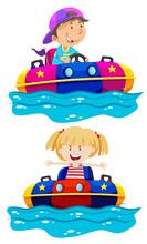 Children Riding Boat Bumper