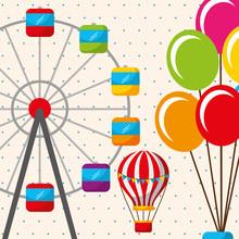 Hot Air Balloon Ferris Wheel Carnival Fun Fair Festival