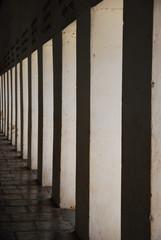 White column walkway around Shwedagon Pagoda, Myanmar