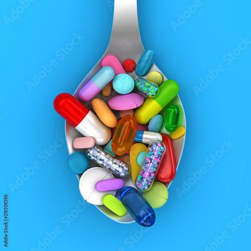 Fotografia Dose of colorful pills in spoon - 3d render
