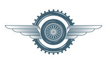 Industry Automotive Wheel Car Gears Wings Emblem