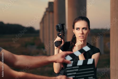 Fotografiet Action Female Superhero Actress Movie Star Shooting Scene