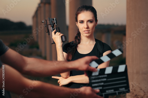 Action Female Superhero Actress Movie Star Shooting Scene Canvas Print