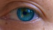 eyes blinking detailed shooting. bright blue colored iris.