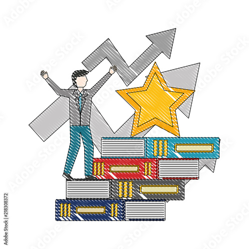 Fotografia, Obraz  businessman climbing pile books arrow up star award