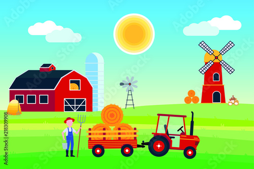 Spoed Foto op Canvas Turkoois Village harvesting landscape poster, banner or wallpaper. The tractor with semi-trailer and hay bale, red barn with silo, windmill and mill with flour producing flat style design vector illustration.