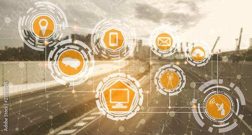 Smart city and wireless communication network. Canvas Print