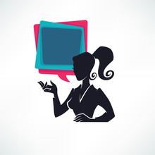 Professional Chat Logo, Business Lady Silhouette And Speech Bubble