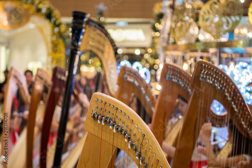 Harp music instrument with blur background - Buy this stock