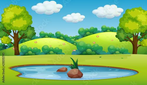 Photo Stands Kids A nature pond landscape