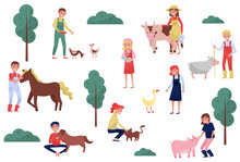 Farmers Taking Care Of Animals On Farm, Farming And Agriculture Vector Illustration On A White Background