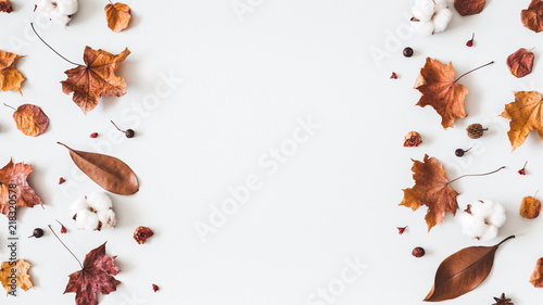 Obraz Autumn composition. Frame made of cotton flowers, dried maple leaves on pastel gray background. Autumn, fall concept. Flat lay, top view, copy space - fototapety do salonu