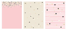 Set Of 3 Varius Abstract Vector Layouts. Beige, White And Black Falling Confetti. Pink Background. Triangles Pattern. Beige Background. White Stripes With Beige And Black Dots Pattern.Pink Background