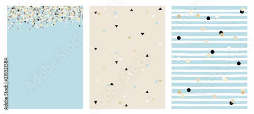 Stickers pour porte Pierre, Sable Set of 3 Varius Abstract Vector Layouts. Beige, White and Black Falling Confetti. Blue Background. Triangles Pattern. Beige Background. White Stripes with Beige and Black Dots Pattern.Blue Background