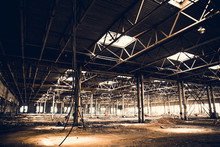 Abandoned Ruins Of Industrial Factory Building, Corridor View With Perspective And Light, Ruins And Demolition Concept