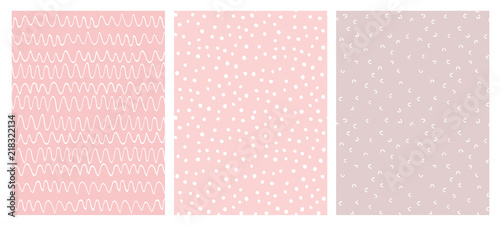 plakat Abstract Hand Drawn Childish Vector Pattern Set. White Waves, Arches and Dots on a Various Pink Backgrounds.