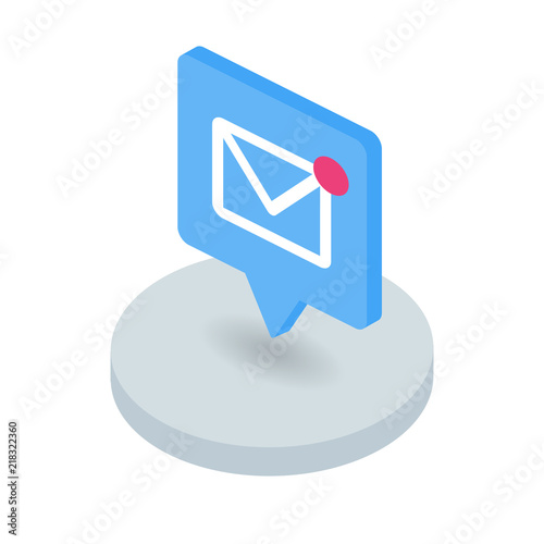 New message isometric icon Canvas Print