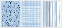 Hand Drawn Childish Style Vector Pattern Set. Blue And Black Vertical Stripe On A White Background. White Grid On A Blue Backround. White And Black Dots On A Blue Background. Cute Simple Design.