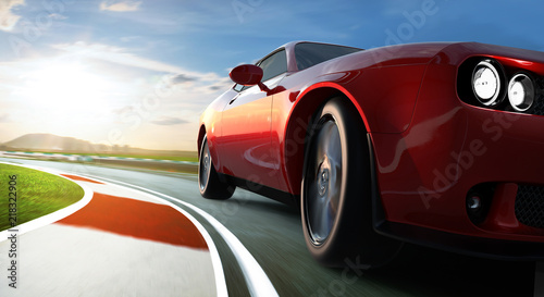 Obraz Low angle side view of car driving fast at night with motion speed effect . - fototapety do salonu