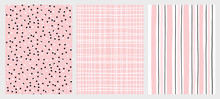 Hand Drawn Childish Style Seamless Vector Patterns. Pink And Black Vertical Stripe On A White Background. White Grid On A Pink Background. White And Black Dots On A Pink Background. Geometric Prints.