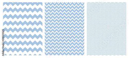Chevron Vector Pattern Set. 3 Various Size of Chevron. White Background. Blue Simple Geometric Seamless Design.
