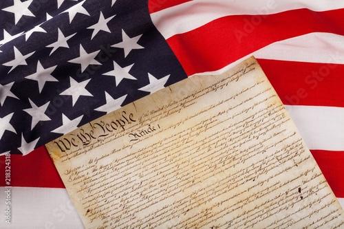 Obraz na płótnie american flag wtih american constitution