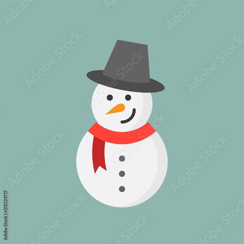 snowman flat icon, Christmas theme set Canvas Print