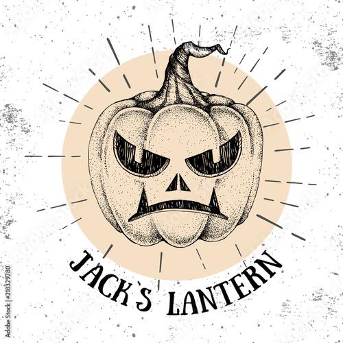 Ingelijste posters Halloween Halloween hand drawn pumpkin Jack`s Lantern vector illustration. Hipster style