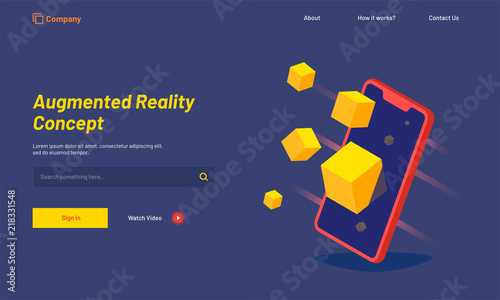 Isometric smartphone with blocks, responsive landing page for Augmented Reality (AR) concept Wallpaper Mural
