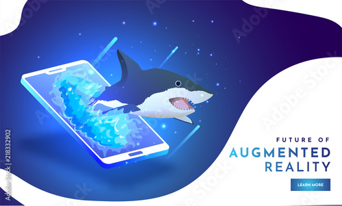 Cuadros en Lienzo Future of Augmented Reality (AR), isometric illustration of Shark on smartphone screen on shiny blue background