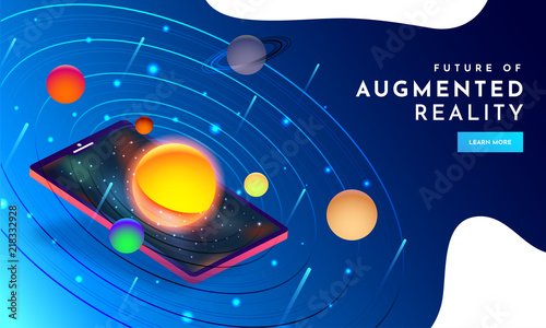 Photo Responsive web template design with isometric illustration of space with planets on smartphone screen for Augmented Reality (AR) concept