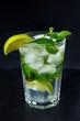 a glass with a mint lemonade