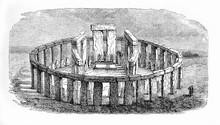 Vintage Engraving Of  Stonehenge Prehistoric Monument In Wiltshire, England, A Ring Of 4 M. High Standing Stones Each Weighting Around 25 Tons.
