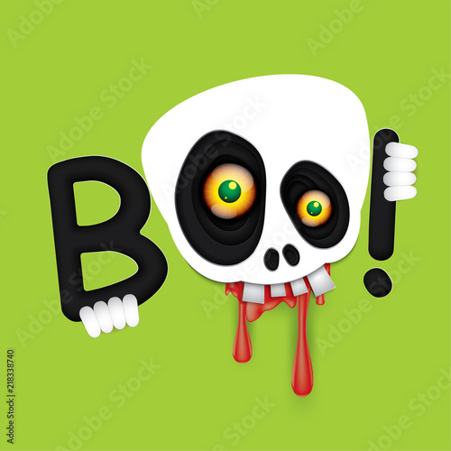 Fotografia, Obraz Vector and illustration graphic style,Happy Halloween skull monster eyes,paper cut style,EPS 10