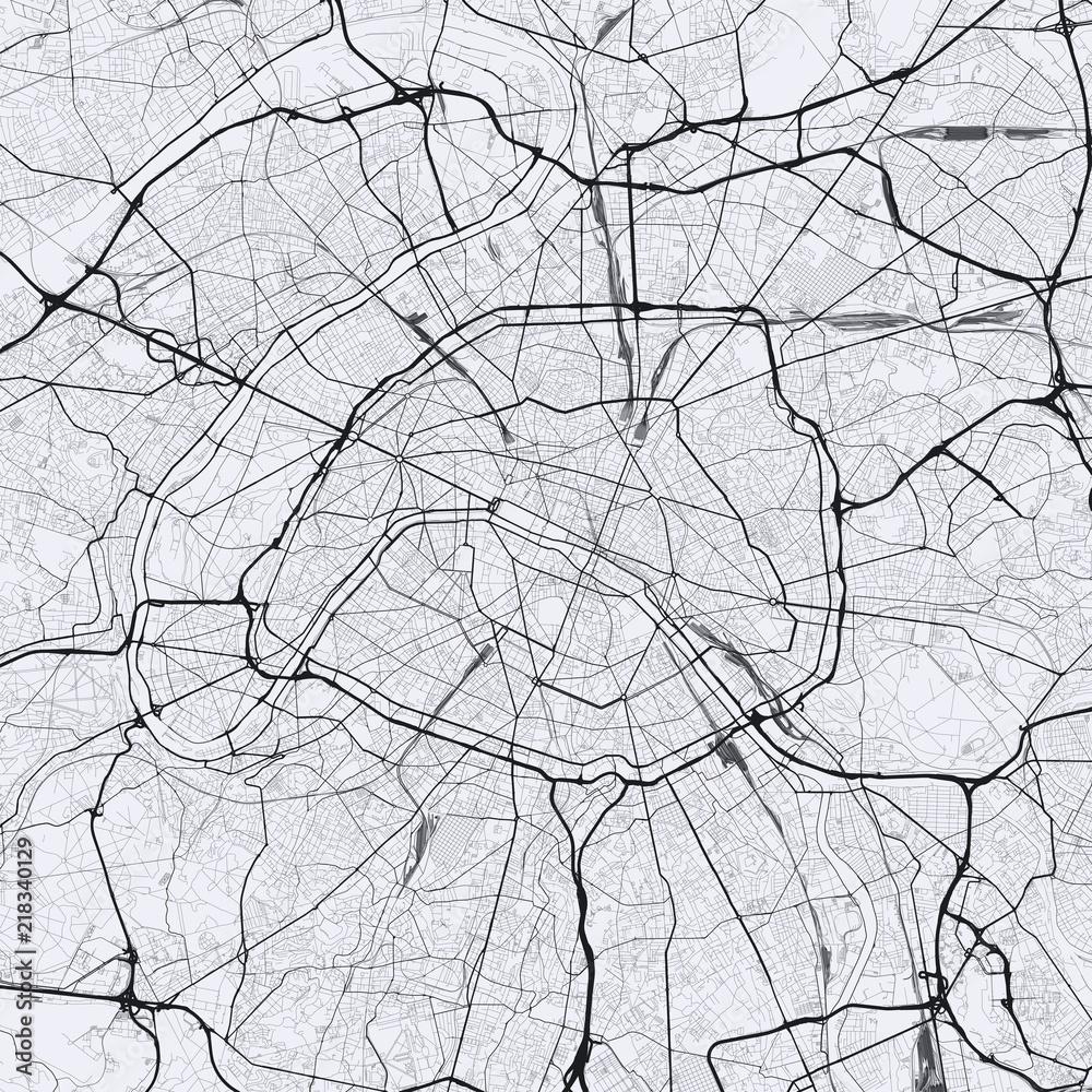 Light Paris city map Foto, Poster, Wandbilder bei EuroPosters