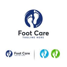 Simple Foot Care Logo Designs Vector, Walking Foot Logo Symbol