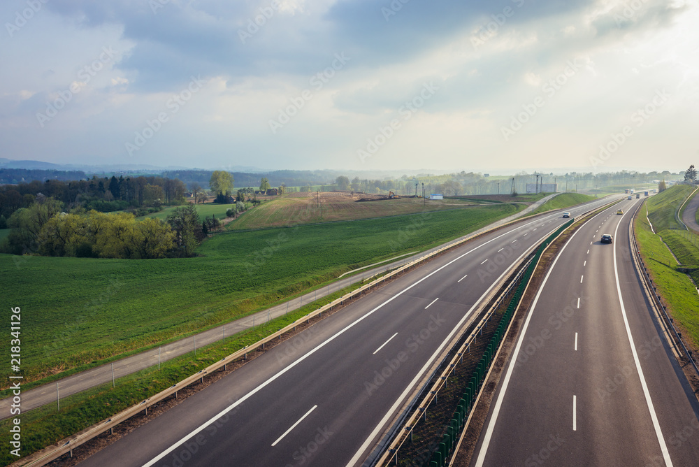 Fototapety, obrazy: S52 road near Bielsko-Biala town in Southern Poland