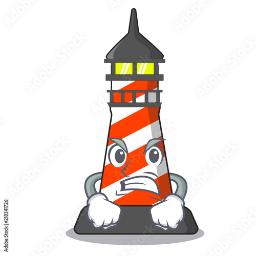 Photo Angry lighthouse on the beach mascot