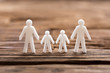 canvas print picture - Close-up of a white family figures