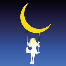 Girl Swing Moon