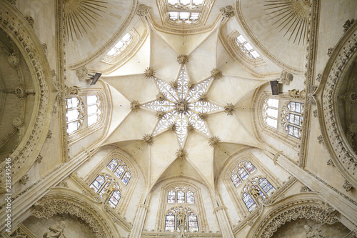 Star-shaped vault of one of the chapels of the Burgos Cathedral, Spain