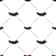 Lashes With Glitter Effect Sealmess Vector Pattern