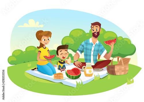 Obraz na plátně Happy family on a picnic