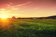 canvas print picture - Rural landscape with beautiful gradient evening sky at sunset. Green field and village on horizon