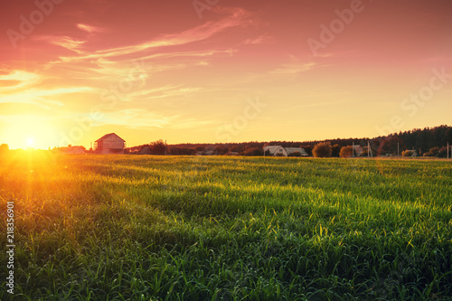 Aluminium Prints Autumn Rural landscape with beautiful gradient evening sky at sunset. Green field and village on horizon